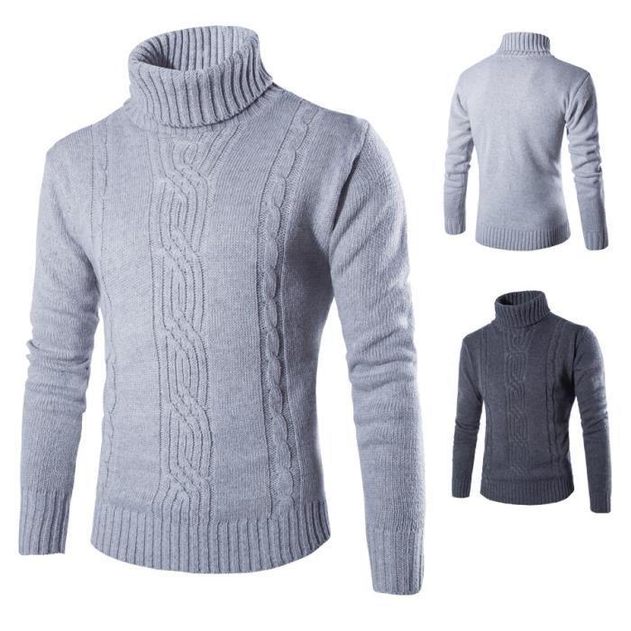 da191a3c21931 2016 nouveau Mode Hommes col roulé en laine pul... Gris clair ...