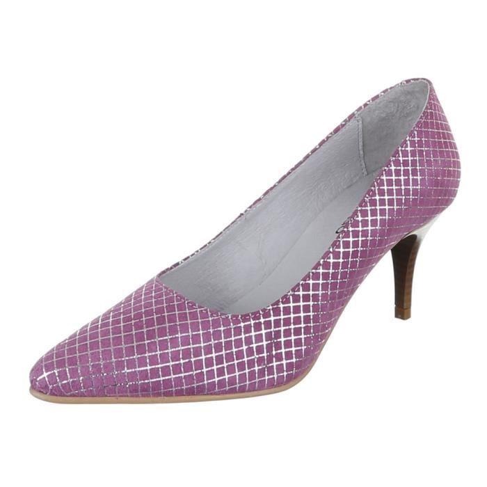 femme chaussure escarpin cuir talons aiguilles violet