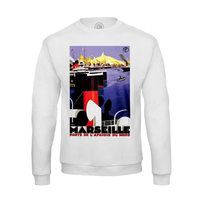 Sweat-shirt Homme Marseille Porte Afrique Du Nord Vintage France Vieux Port  Bateau Boat a6d44f37f150