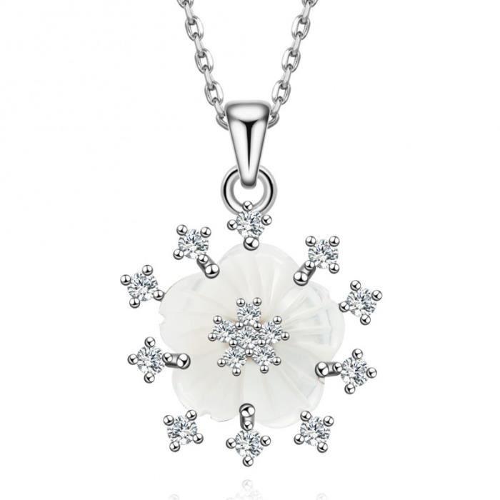 MURTOO Collier Fleur en Nacre Blanche et oxyde de zironium