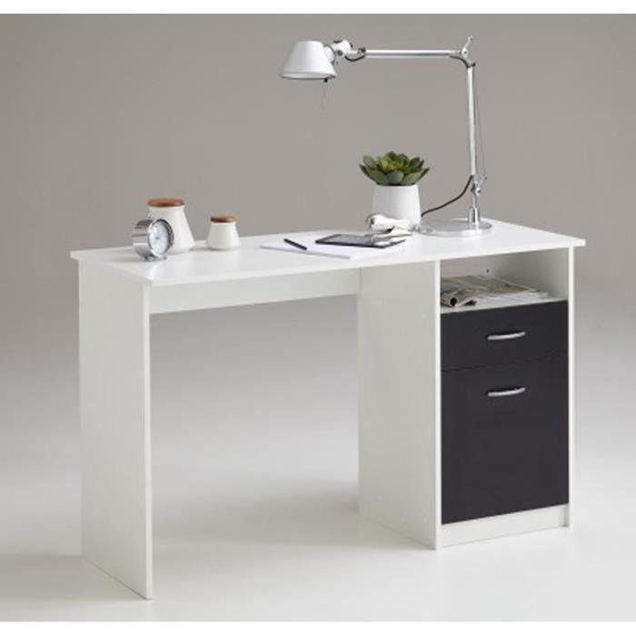 Bureau En Bois Coloris Blanc Noir Avec 1 Tirois Et 1 Porte Dim