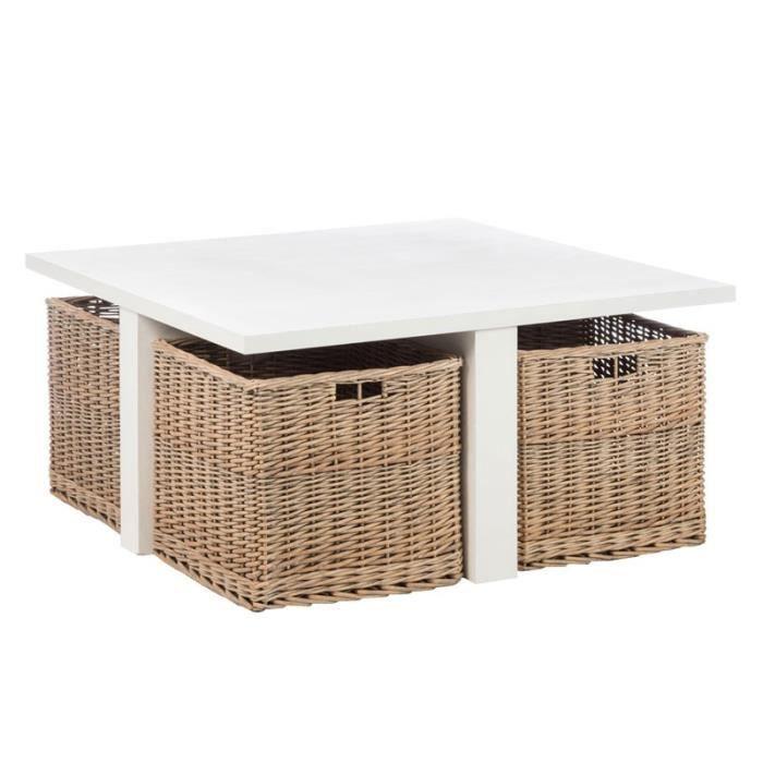 table basse avec 4 paniers en osier marin l 95 x l 95 x h 45 achat vente table basse. Black Bedroom Furniture Sets. Home Design Ideas