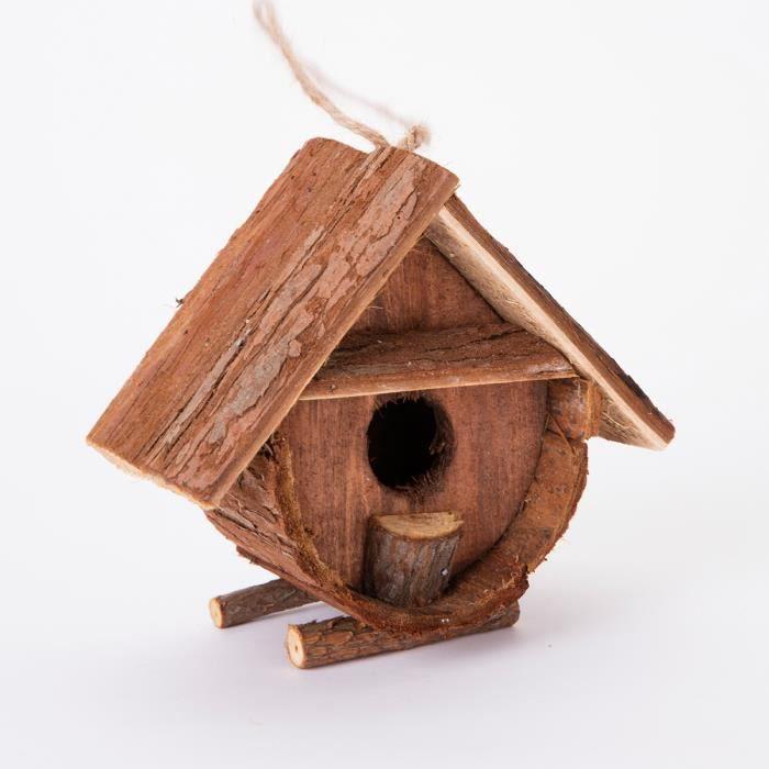 cabane oiseaux nichoir en bois avec corces sur pieds 9x16x15cm marron achat vente. Black Bedroom Furniture Sets. Home Design Ideas
