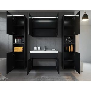 Meuble salle de bain avec vasque noir achat vente for Meuble de salle de bain xl