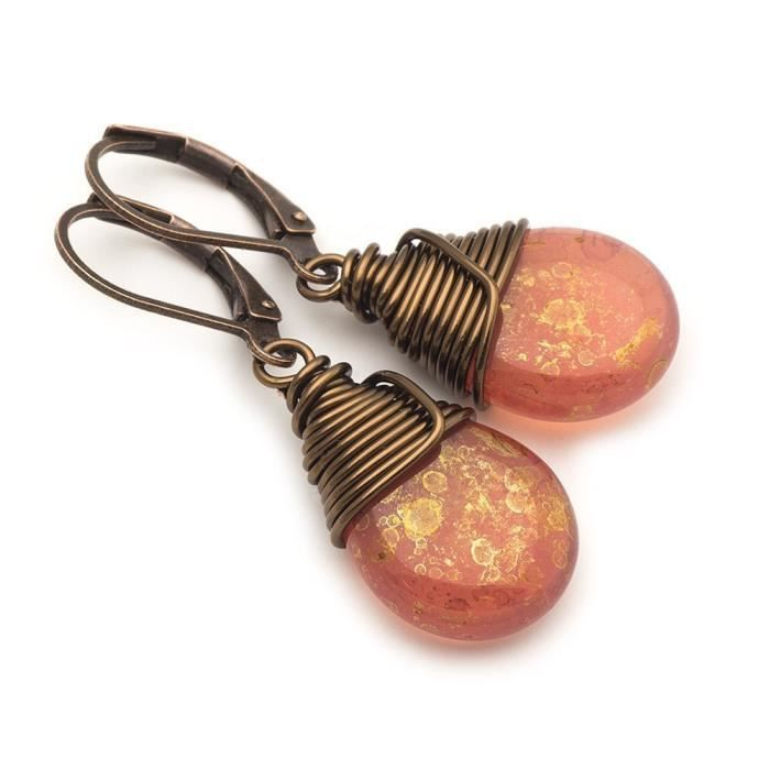 Womens Lustrous Czech Glass Wire-wrapped Drop Bronze Lever-back Earrings R2FTA