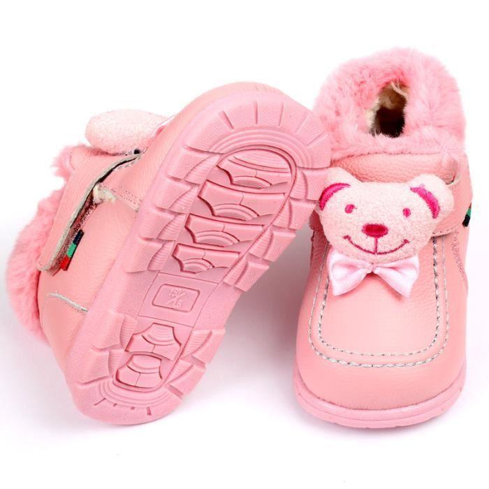 Malkris Enfant Bottes de neige cuir bébé bottes hiver BnVBsY