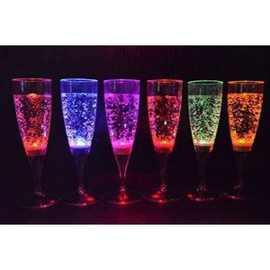 VERRE JETABLE ss-33-6 multicolore LED lumiere flute vin liquides