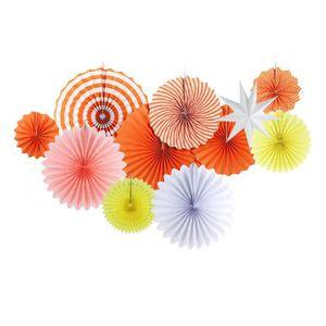 KIT DE DECORATION Rosette Papier Rosace Orange Decoration Etoile Bla