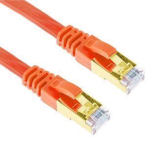 CÂBLE RÉSEAU  1,5m Orange Cat7 Câble Ethernet Plat Blindé RJ45 L