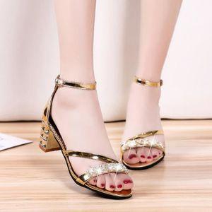 35fe002a9ba1c ESCARPIN Chaussures femmes d'été à bout ouvert sandales à t