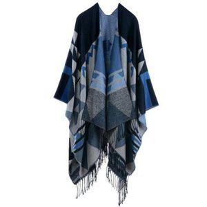 08fe0debc179 STOEX® Cape Femme Tricot Carreaux Tar tan Style,Ouverture Extra Large  écharpe Châle Poncho Automne Hiver Bleu Girs. ECHARPE - FOULARD ...