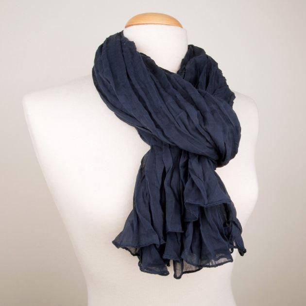 6aa9391427b8 Chèche 100% coton Bleu marine uni Bleu - Achat   Vente echarpe ...