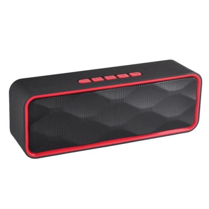 1pc Haut-parleur Stéréo Extérieur Portable Sans Fil Bluetooth Basse Rouge