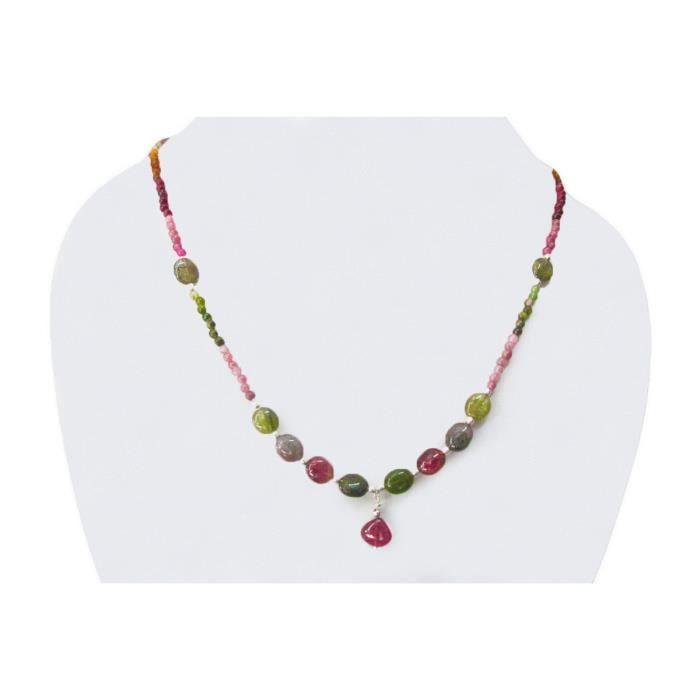 Craze Watermelon Tourmaline en forme de coeur Collier de perles Ster. Constatations Argent Bijoux