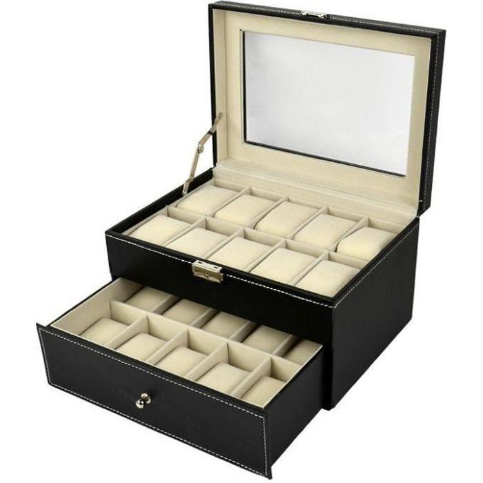 boite rangement 20 montres achat vente pas cher cdiscount. Black Bedroom Furniture Sets. Home Design Ideas