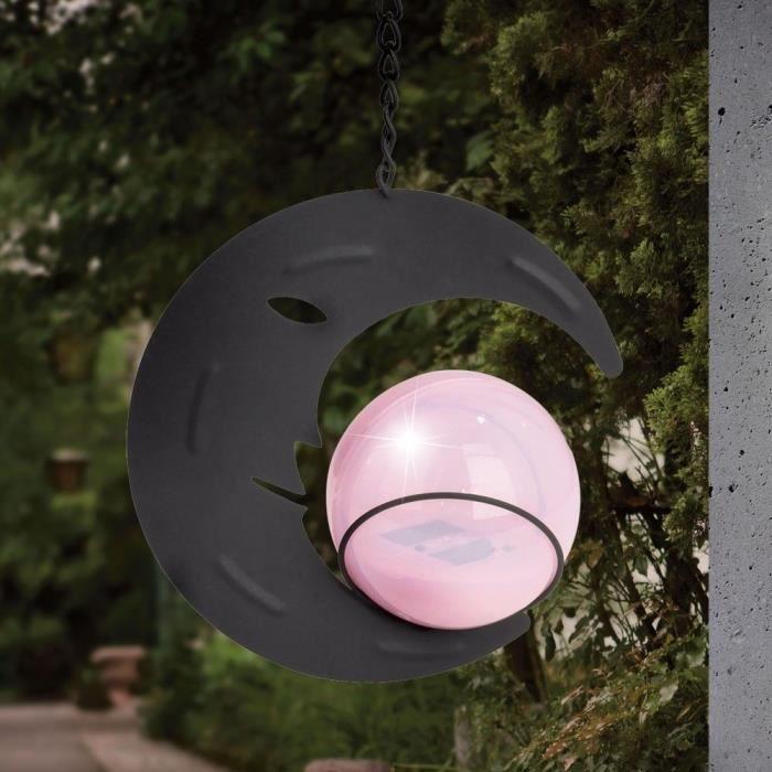 Luminaire solaire LED suspension demi-lune boule véranda noir ...