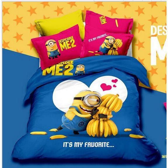 housse de couette bed linen minion caricature 3d 2 taies 014 achat vente parure de drap. Black Bedroom Furniture Sets. Home Design Ideas