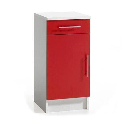 Elements bas meuble bas de cuisine 1 porte mélanie rouge