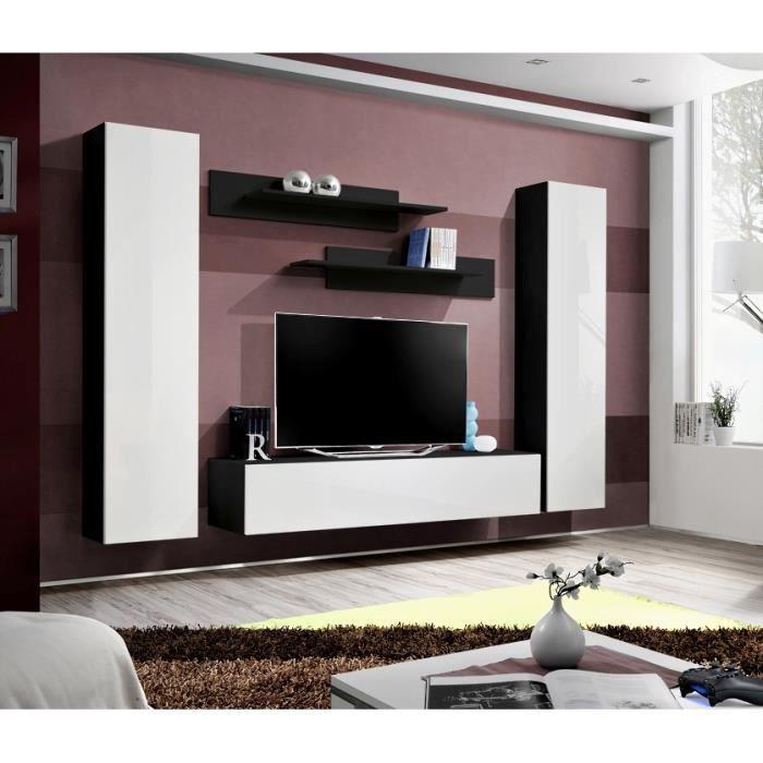 PRICE FACTORY - Meuble TV FLY A1 design, coloris noir et blanc ...