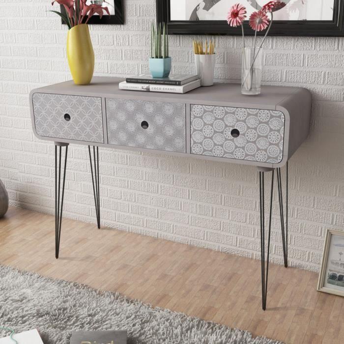 commode table d 39 entr e 3 tiroirs de rangement pour couloir ou salle de s jour en mdf acier. Black Bedroom Furniture Sets. Home Design Ideas