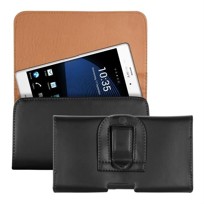 88d7cf0cf9ab7d kwmobile Étui de ceinture pour téléphone portable - Étui ceinture universel  simili cuir - Sacoche smartphone avec crochet - noir