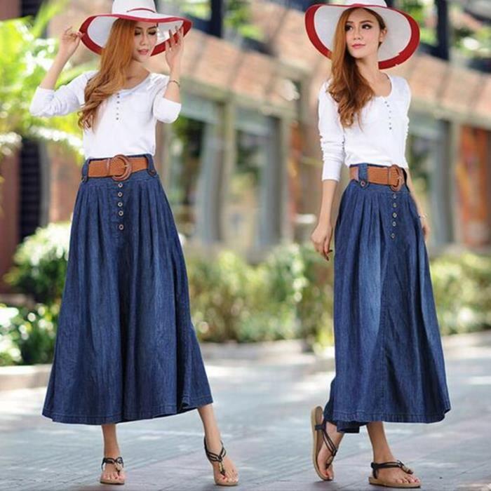 3eedaf9c2cd8d Femmes Jeans Jupe longue Nouvelle Collection Fashion Plus Size Printemps  Eté Jupe Bouton Vêtements Femmes Jupe longue