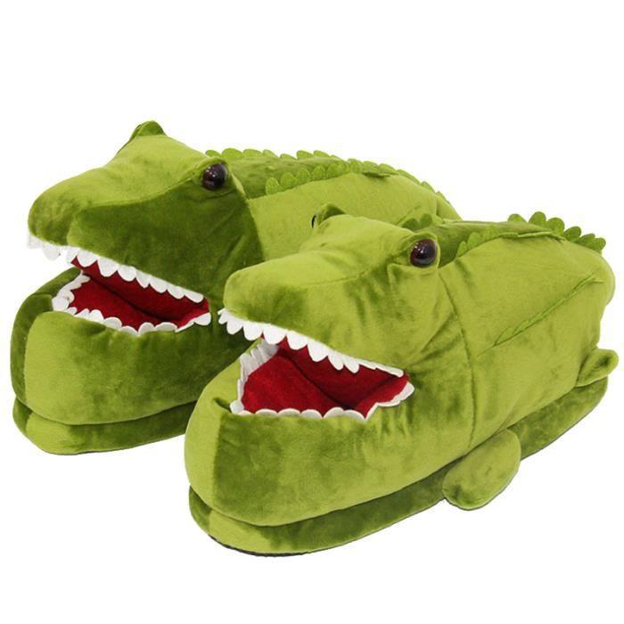 Pantoufles Hommes Femmes Vert Dinosaure Cartoon Alligator En Peluche Pantoufles DTG-XZ143Vert36-42 ZNtmwtf