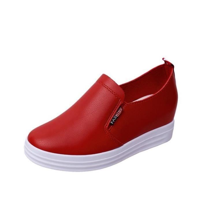 Bottes automne cheville talon haut femme en cuir véritable Taille accrue Zipper Femmes Pompes Elevator Chaussures Femme,rouge,36