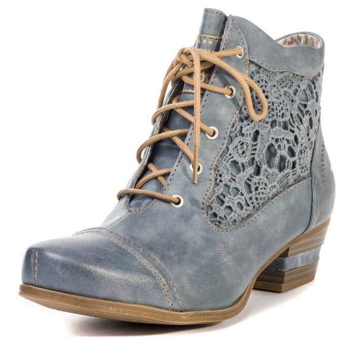 Femmes Bleu With Embroidery Up 36 Ciel Lace Boot Bottines Mustang qHpw11