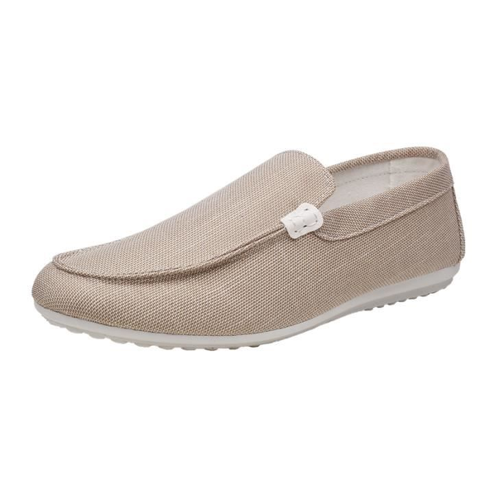 c0f98482a8d 2018 Slippers Chaussures Homme Mocassins Toile Gris Beige Beige ...