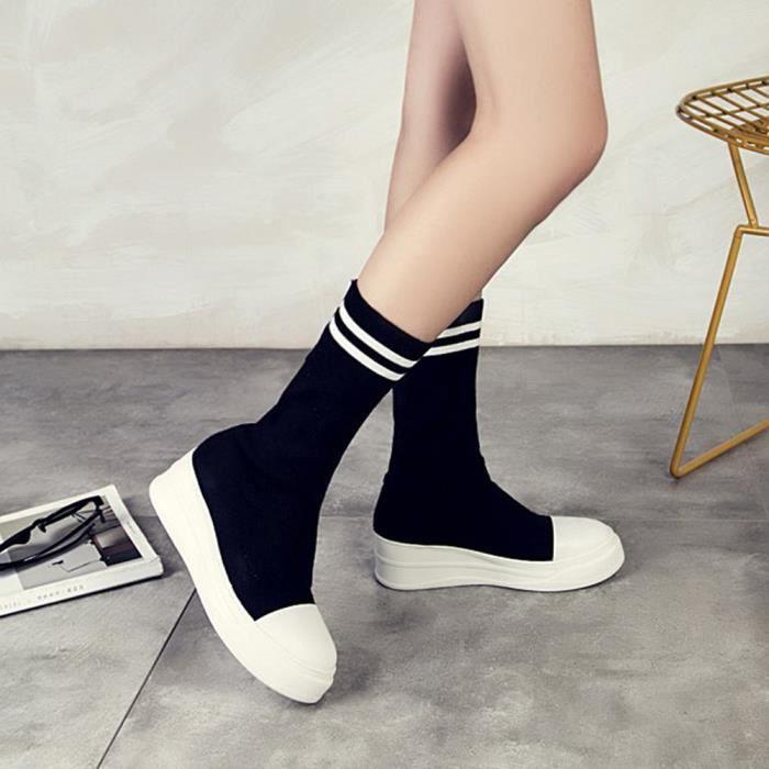 Womens plates Bottes talon bas classique Chaussures cheville chaussettes Bottes élastiques Ensembles @11 Noir