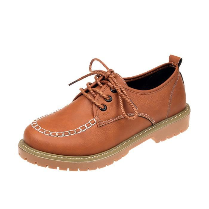 En Dentelle Mode Up Chaussures Cheville Court Femme Marron Cuir Mesdames Bottes Flat Casual q4wnx4p