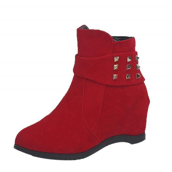 plus récent c5189 ed6fb Botte De Pluie Fille Boot pour Femme Bottines Talons Elargisseur Chaussure  Femme Plate-Forme Wedge Talon Bottes Augmenté La Mode
