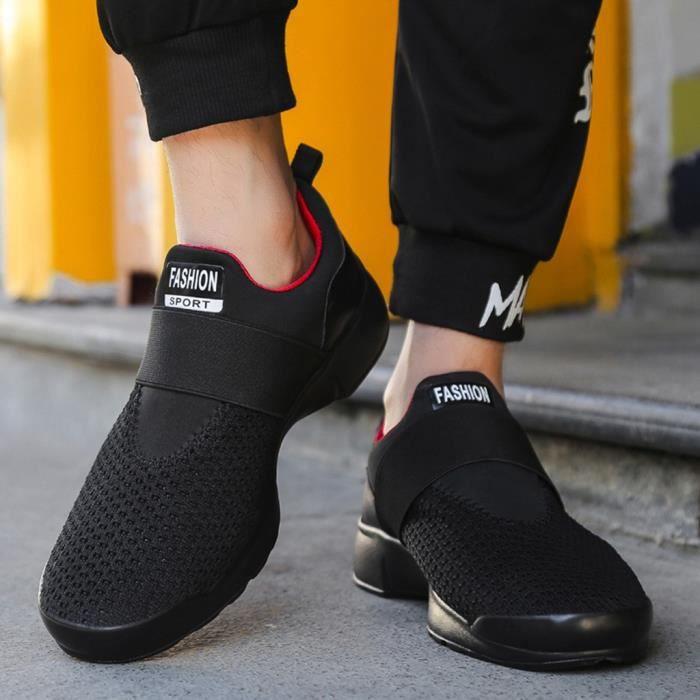 Chaussures Courir Rond Sport À Casual Mode Élastique Bottines Homme Plates Solide Lettre xie6501 Bout qwREvP