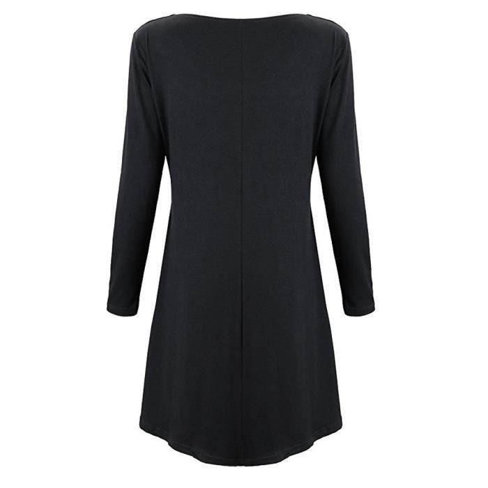 Dress Longues Fit À Femmes noir Blouse Neck Superposée Exquisgift Les Tunique Manches Loose Scoop PxpR6wwq