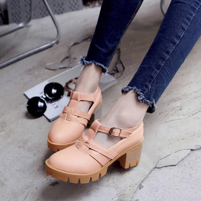 Chaussures Femme Plateforme Ronde En PU Cuir Toutes les pointures de la 35 à la 43 KIOZHWDm