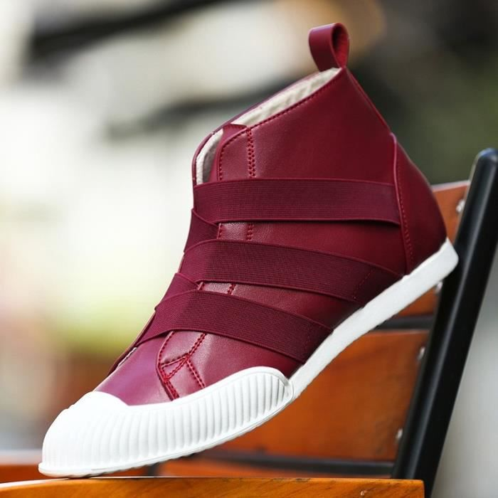 Botte Homme Korean StyleTendance High Top plates rouge taille7