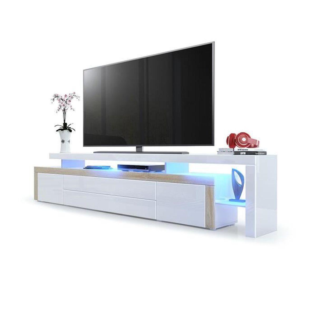 Meuble tv Chªne brut Blanc laqué 227 cm avec led Achat Vente