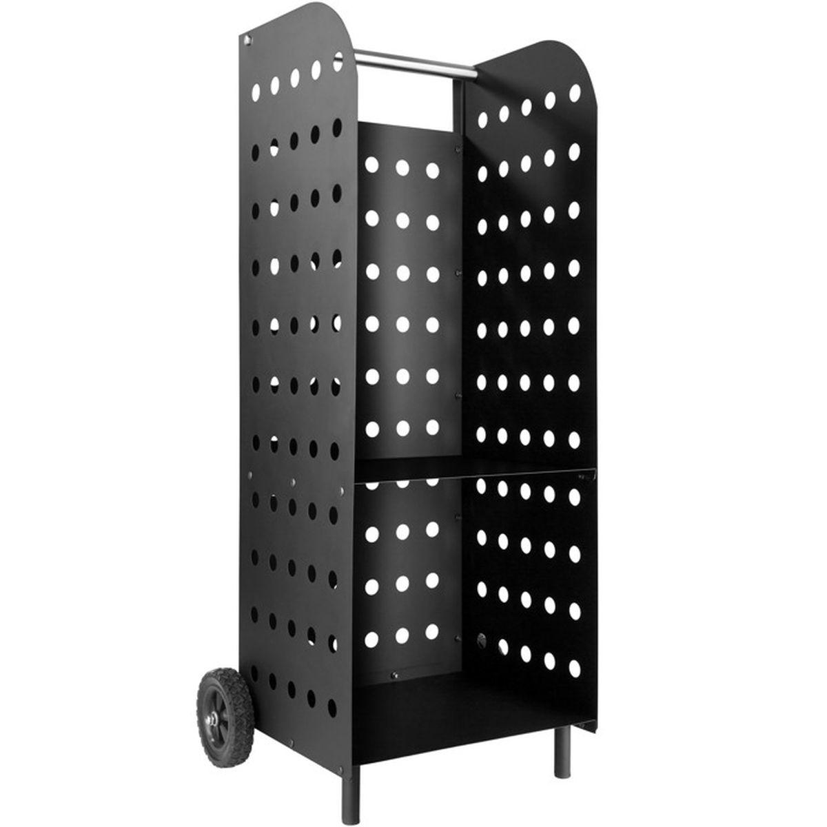 chariot b ches chariot bois panier en m tal porte et range b che sur roulette tectake. Black Bedroom Furniture Sets. Home Design Ideas