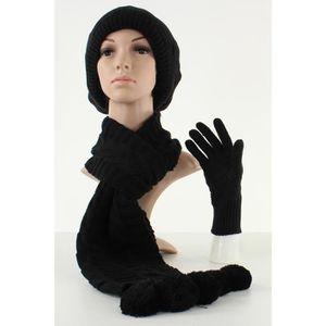 Ensemble bonnet béret écharpe et gants femme Noir uni T U Noir Noir ... 91f098f0b97