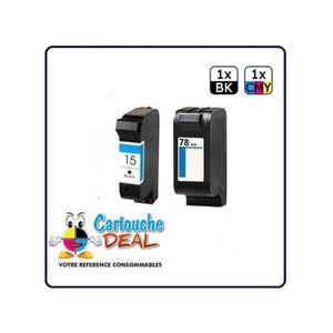 CARTOUCHE IMPRIMANTE HP15 HP78  : Lot 2 cartouches compatible pour Offi
