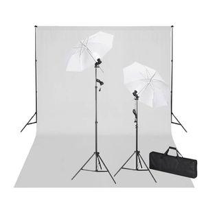 TRÉPIED Kit Photo 2 Flashes + trépieds, 2 Parapluies, Fond