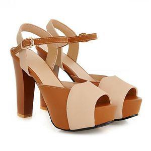 SANDALE - NU-PIEDS Femmes cuir chaussures à talons hauts sandales ...