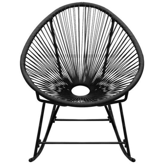 Magnifique Chaise A Bascule De Jardin En Rotin Synthetique Noir