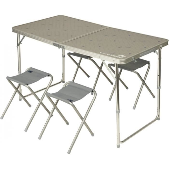WANABEE Table valise + 4 Tabourets de camping