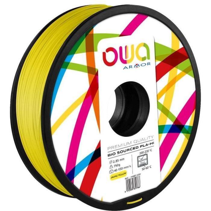 OWA Bobine de Filaments pour imprimante 3D - PLA Hi - Jaune