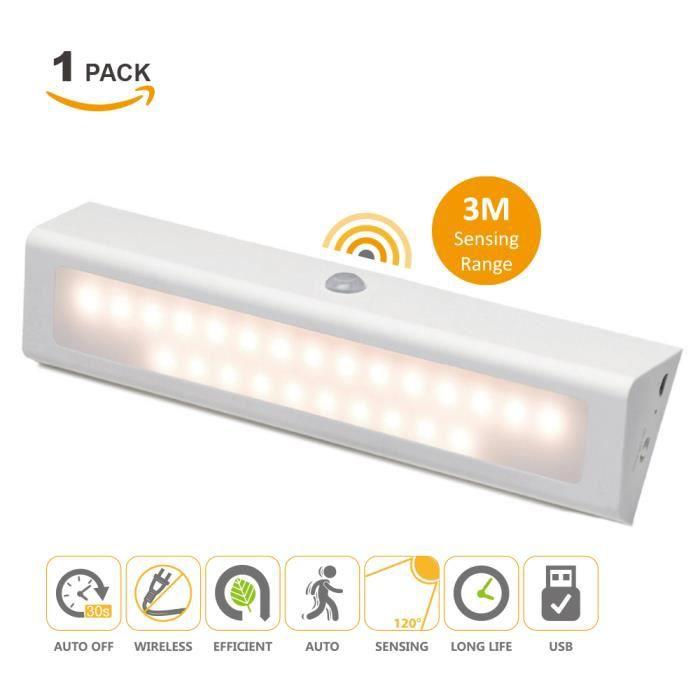 rechargeable batterie lampe veilleuse de nuit led avec d tecteur de mouvement sans fil blanc. Black Bedroom Furniture Sets. Home Design Ideas