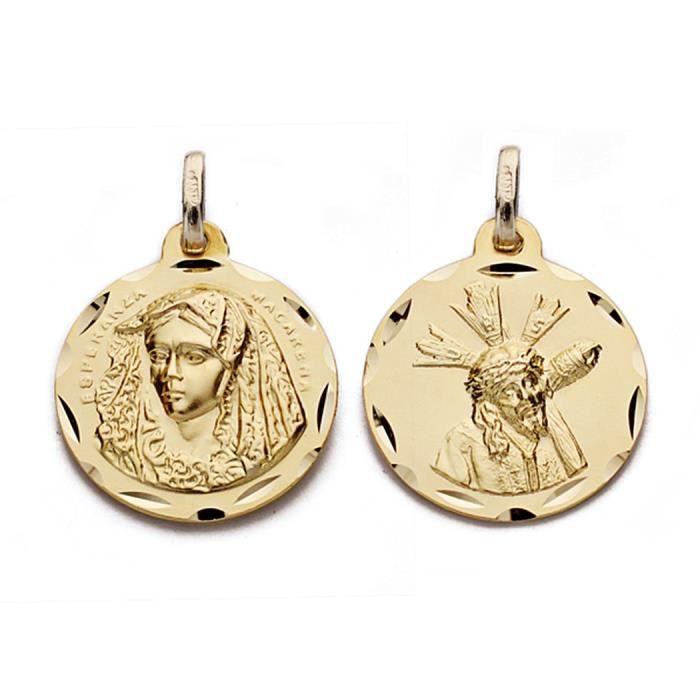 Médaille pendentif 9k puissance scapulaire or et Macarena 18mm. [AA0835]