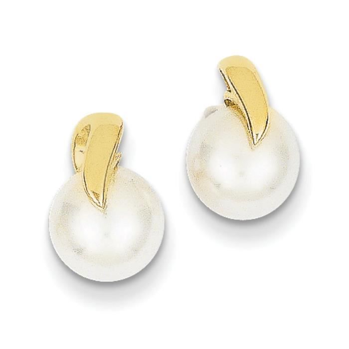 14 carats Perles de culture deau douce-Boucles doreille