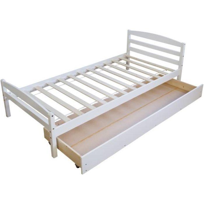 lit complet lit simple 1 personne 90x200cm sommier lattes et - Lit Simple